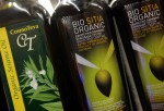 Organic oils are on display for sale at the Eden Natural supermarket, which officially opens later this week June 11, 2007 in Netanya, central Israel.