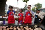 Republican presidential candidate and Wisconsin Gov. Scott Walker (R) bites into a pork chop at the Iowa Pork Producers Pork Tent during the Iowa State Fair on Aug. 17, 2015 in Des Moines, Iowa.